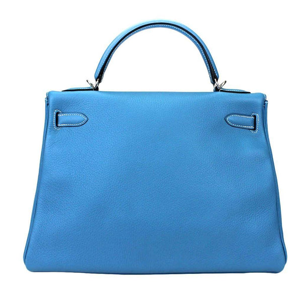 hermes kelly 32 blue jean used back