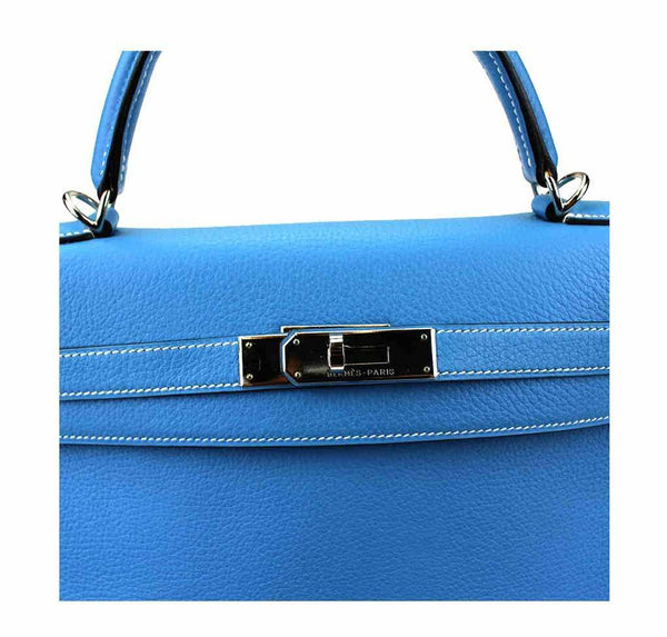 hermes kelly 32 blue jean used engraving