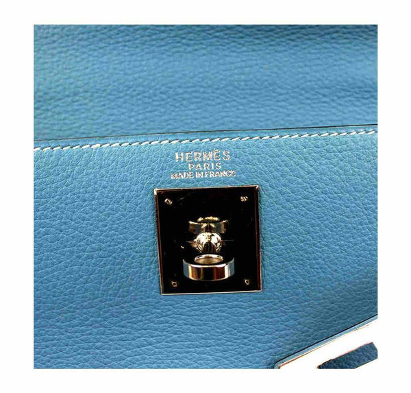 hermes kelly 32 blue jean used embossing