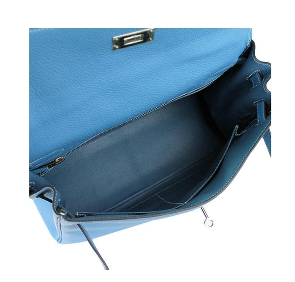 hermes kelly 32 blue jean used inside