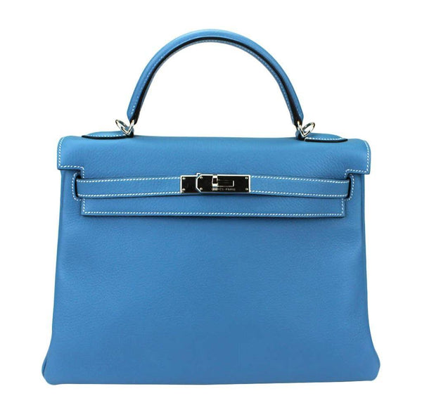 Hermes Kelly 32 Blue Jean Bag