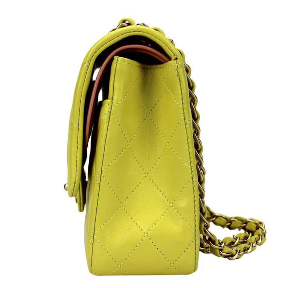 chanel shoulder bag yellow used side