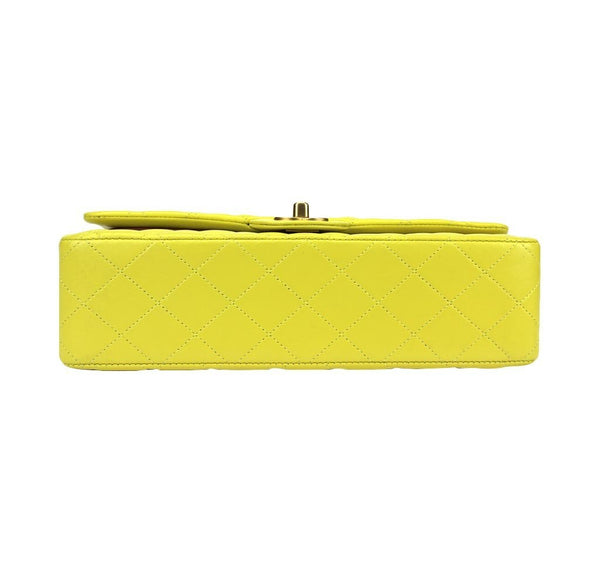 chanel shoulder bag yellow used bottom