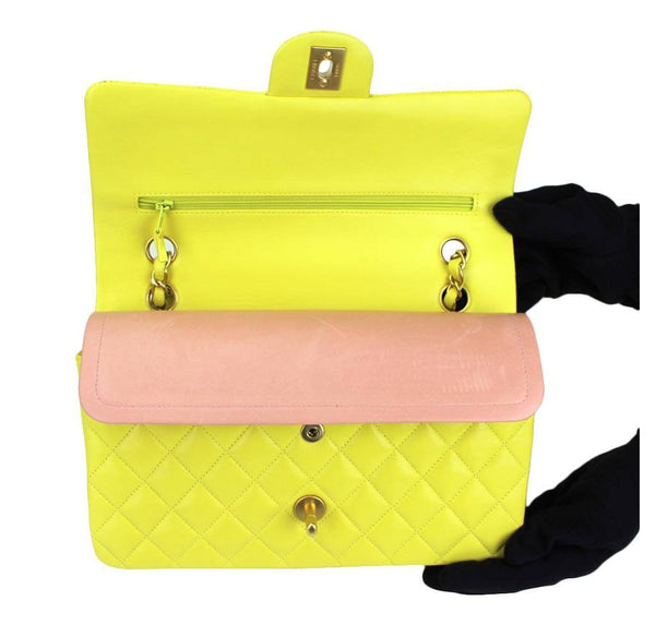 chanel shoulder bag yellow used closure