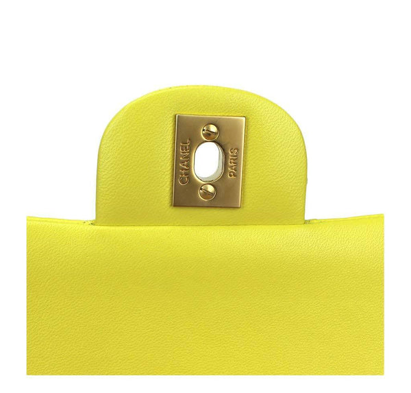 chanel shoulder bag yellow used engraving