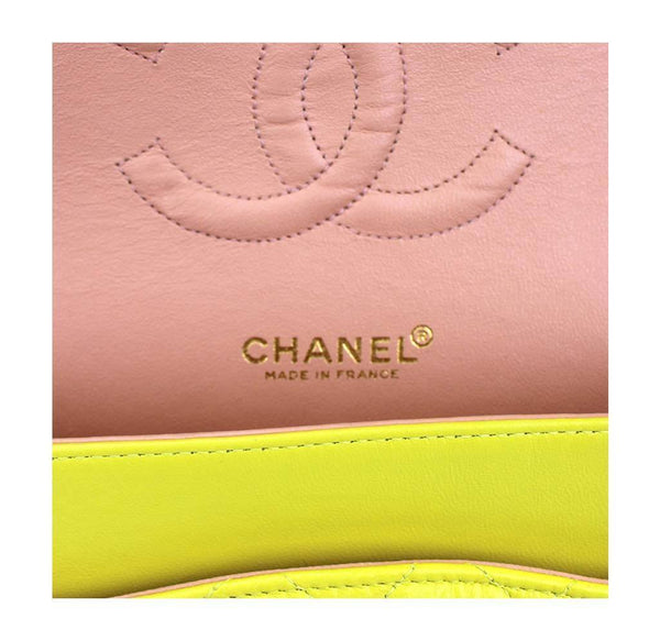 chanel shoulder bag yellow used detail