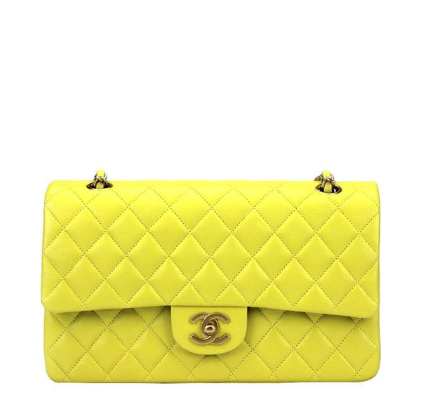 Chanel Shoulder Bag Yellow GHW