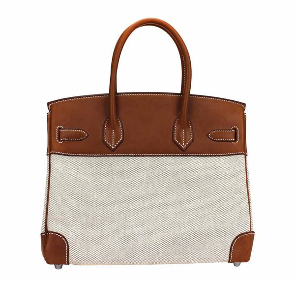 hermes birkin 30 toile natural used back