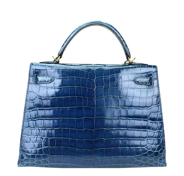 hermes kelly 32 blue roi niloticus crocodile used back