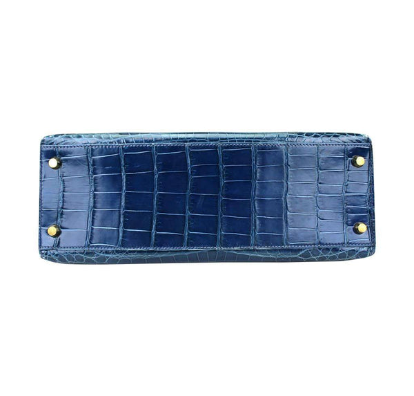 hermes kelly 32 blue roi niloticus crocodile used bottom