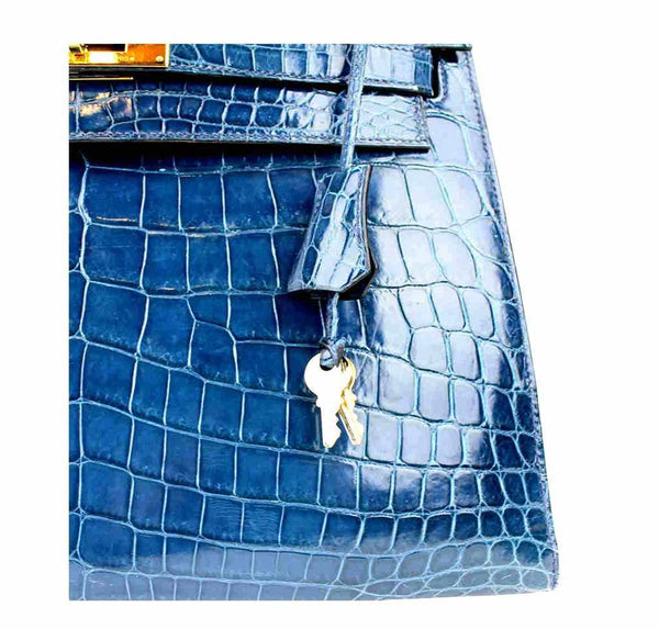 hermes kelly 32 blue roi niloticus crocodile used detail
