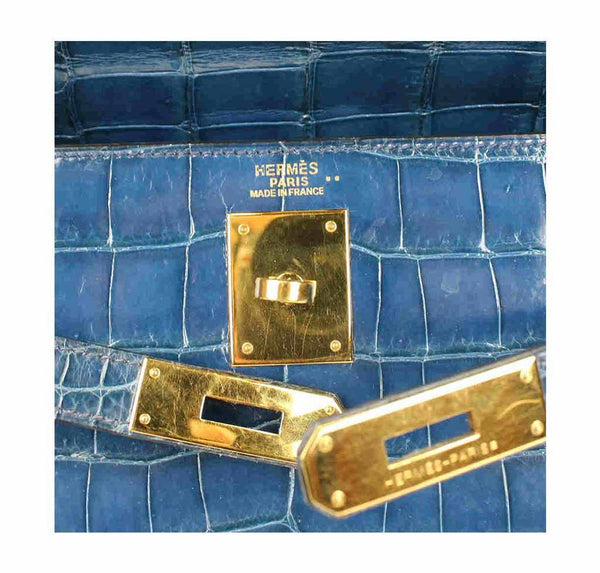 hermes kelly 32 blue roi niloticus crocodile used embossing