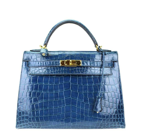 Hermes Kelly Blue Niloticus Crocodile Bag