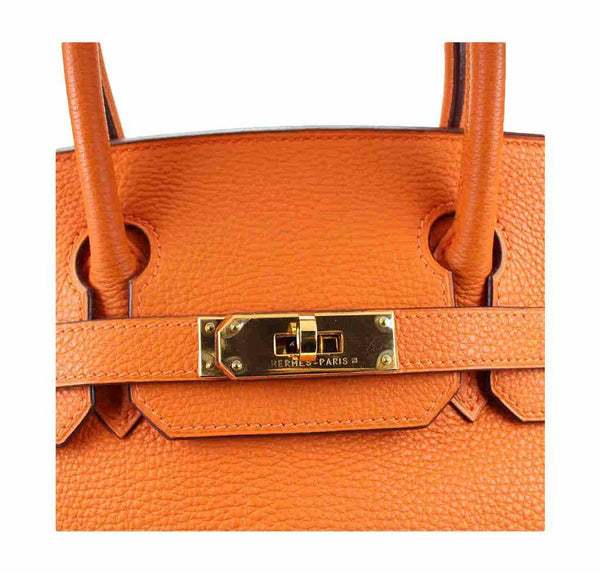 hermes birkin 30 orange used engraving