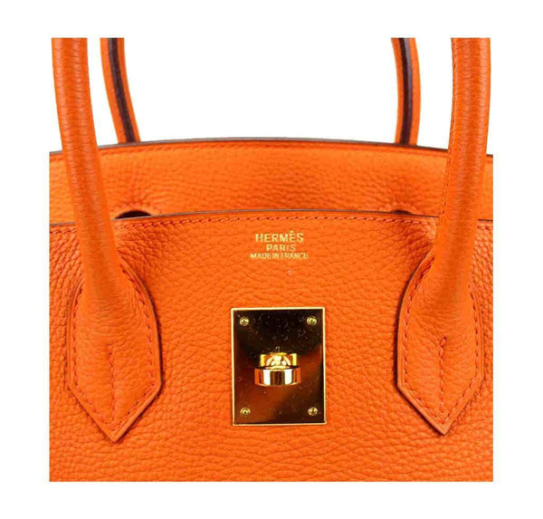 hermes birkin 30 orange used embossing