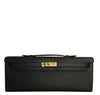 Hermes Kelly Cut Noir Swift gold hardware pristine front