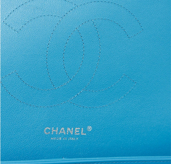 Chanel Jumbo Shoulder Flap Bag Blue Used Embossing