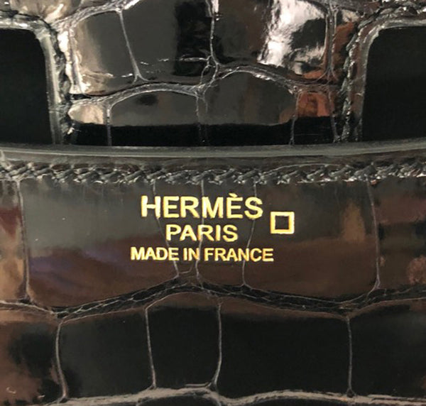 Hermes Constance 24 Alligator Noir rose gold pristine embossing