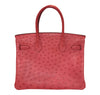 Hermes Birkin 30 Ostrich Bougainvillea Palladium very good back