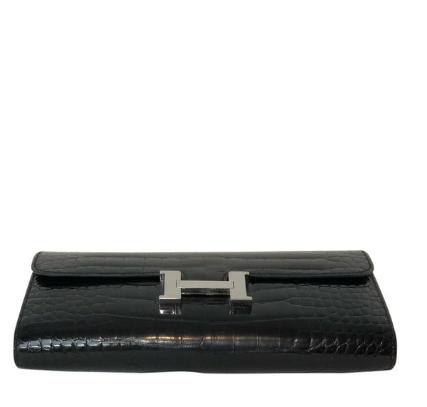 Hermes Constance Long Wallet Alligator Noir Clutch excellent bottom