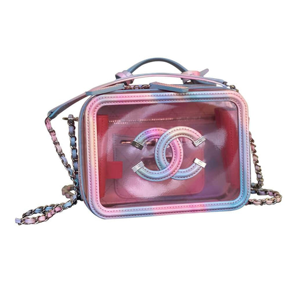 Chanel Multicolor Patent Leather Vanity Case pristine front 2
