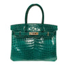 Hermes Birkin 30 Emeraude green Niloticus Crocodile Gold excellent front
