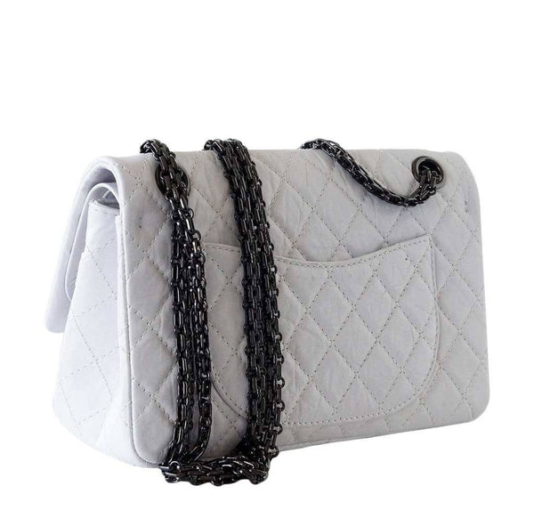 Chanel 225 bag chalk white small used back