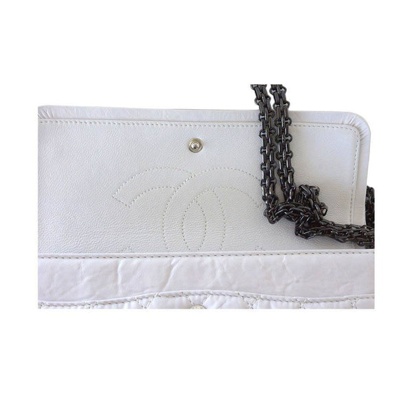 Chanel 225 bag chalk white small used flap