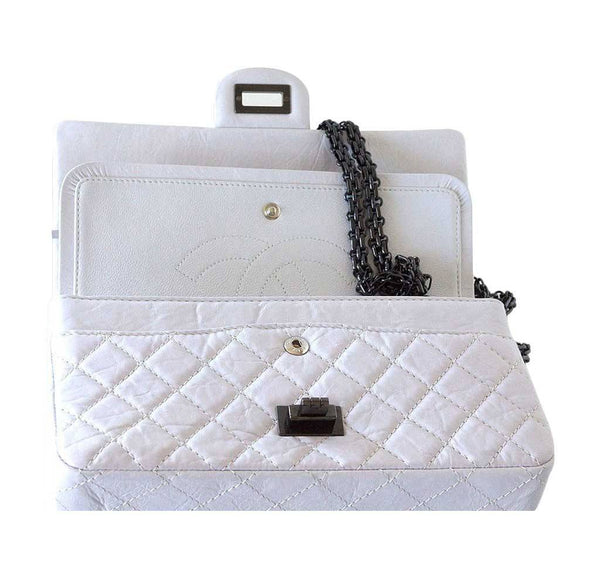 Chanel 225 bag chalk white small used front open