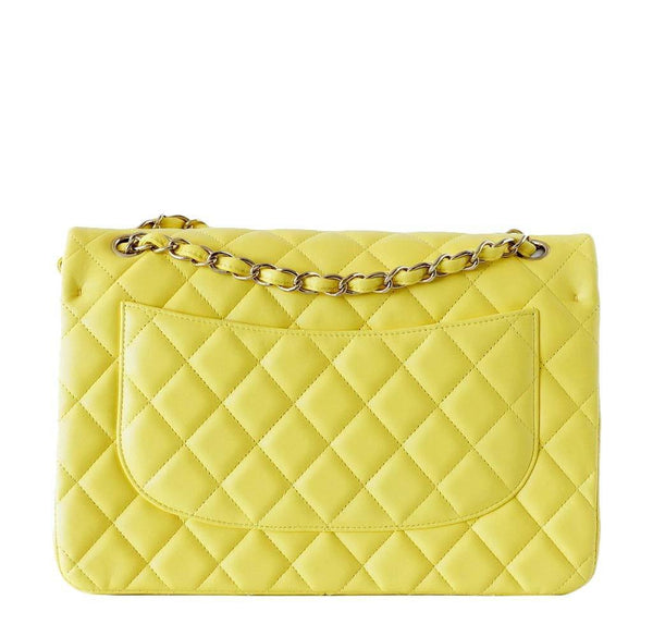 Chanel Bag Classic Double Flap Yellow New Back