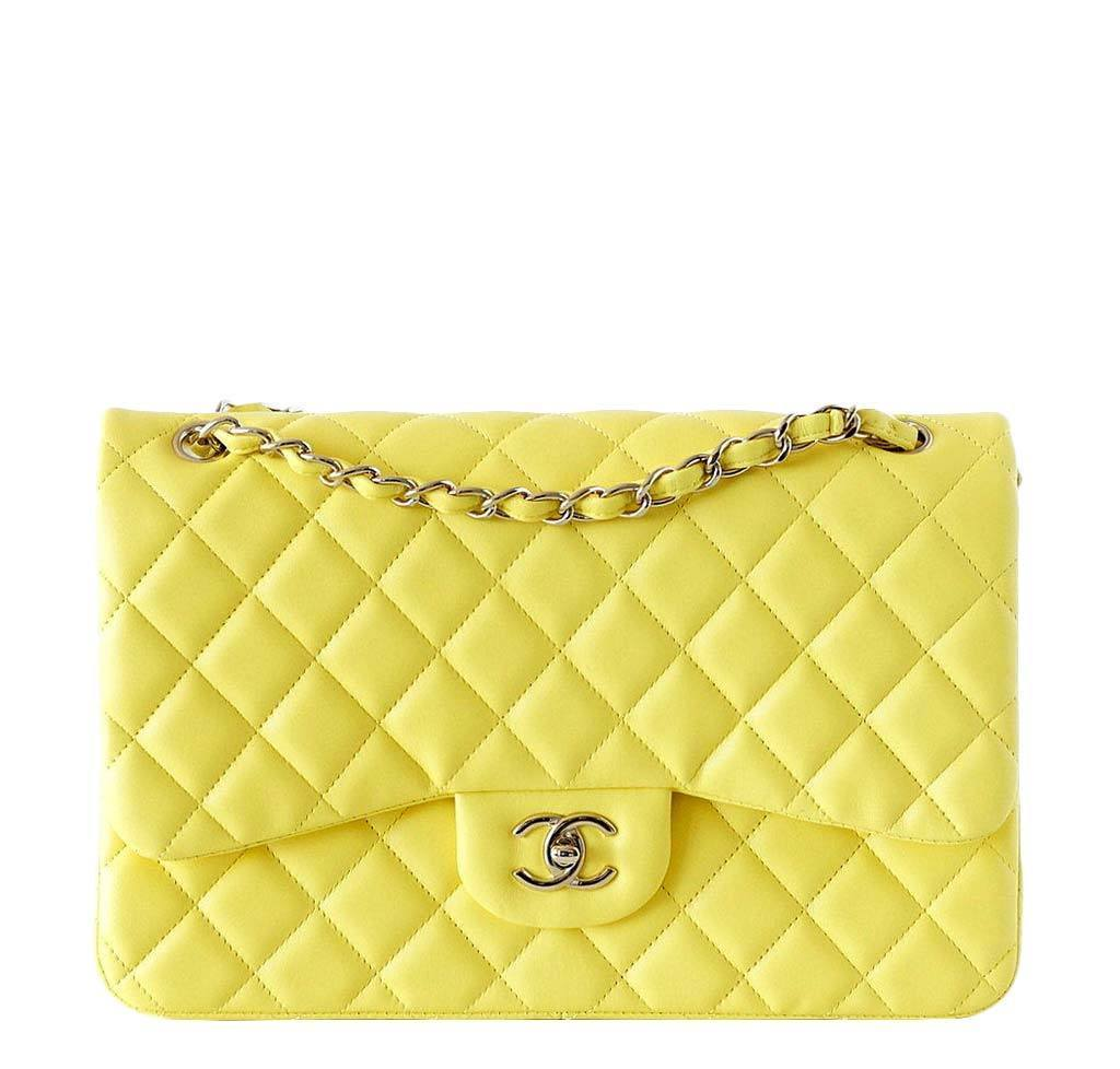 97411cbfc0f4 Chanel Classic Double Flap Maxi Bag Yellow - Very Rare | Baghunter