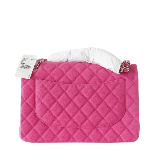 Chanel Bag Jumbo Classic Fuschia New Back