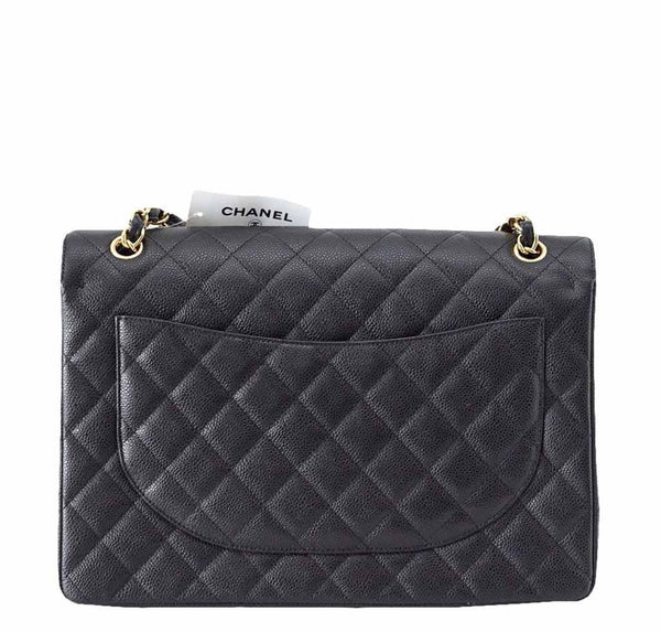 Chanel Bag Maxi Black Caviar Leather New back