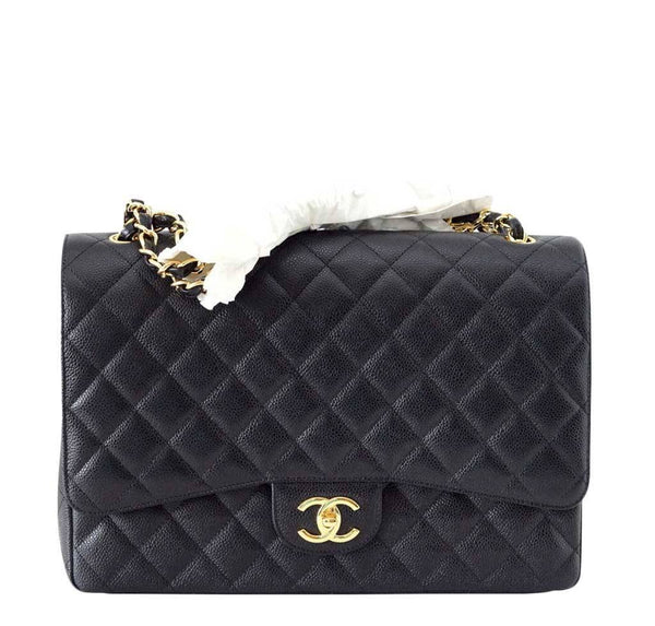 Chanel Bag Maxi Black Caviar Leather New front