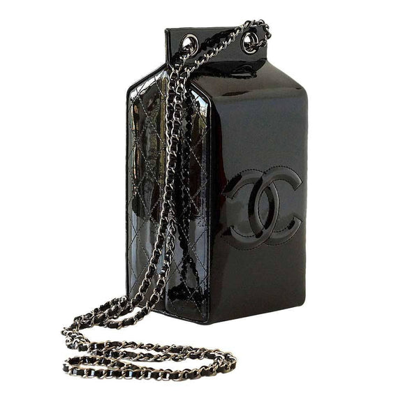 Chanel Bag Milk Carton Black New Side