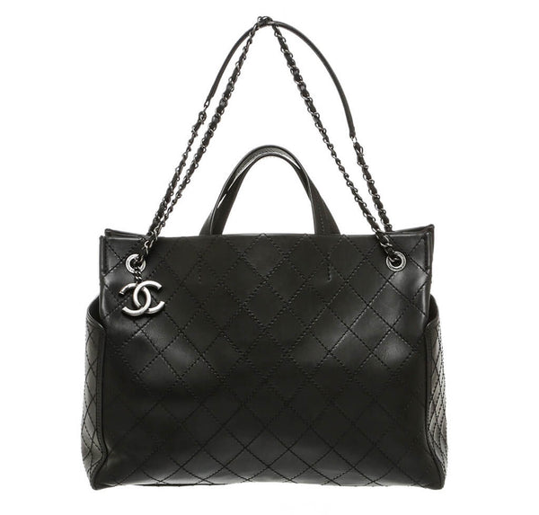 Chanel Small Shopping Tote 15S Black Used Front