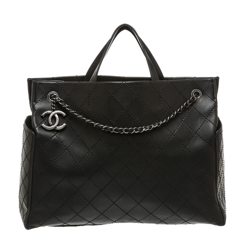 e37b986f7b92 Chanel Small Shopping Tote 15S Black - Lambskin SHW
