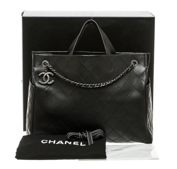 Chanel Small Shopping Tote 15S Black Used Set