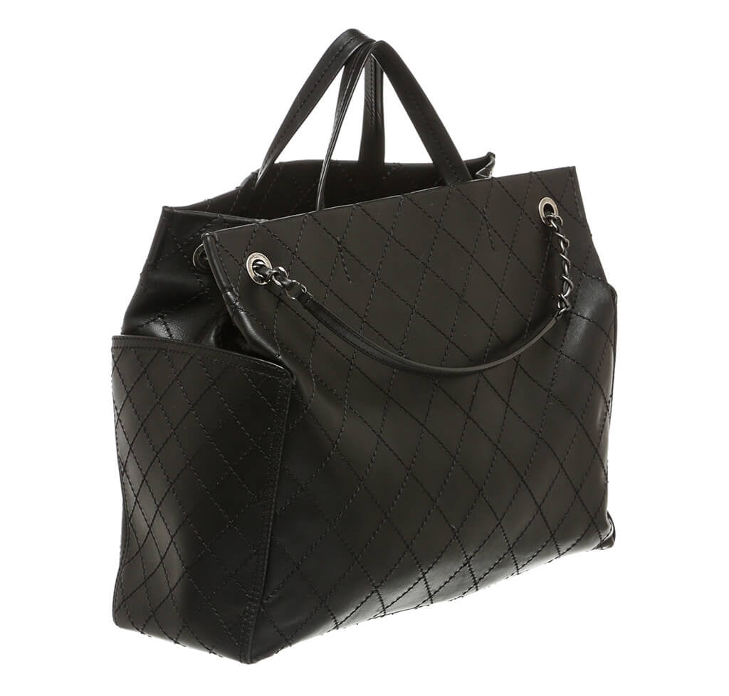 ... Chanel Small Shopping Tote 15S Black Used side ... 39b51c6465a77