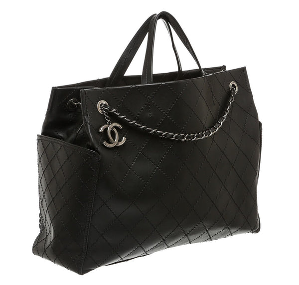 Chanel Small Shopping Tote 15S Black Used Side