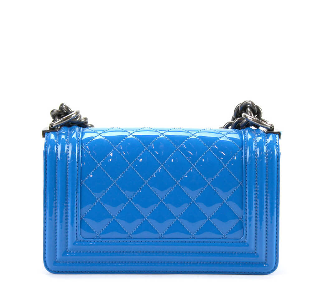 Chanel Boy Bag Electric Blue Patent Leather Shw Baghunter