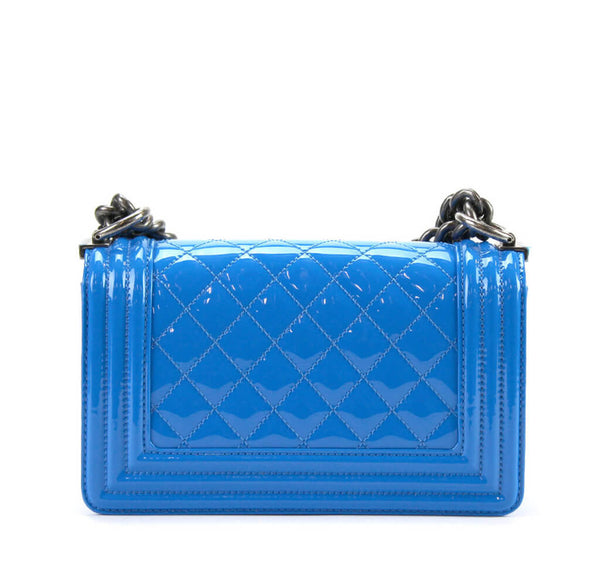 Chanel Boy Bag Electric Blue Used Back