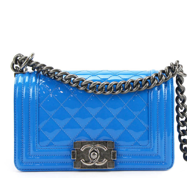 Chanel Boy Bag Blue Patent Leather