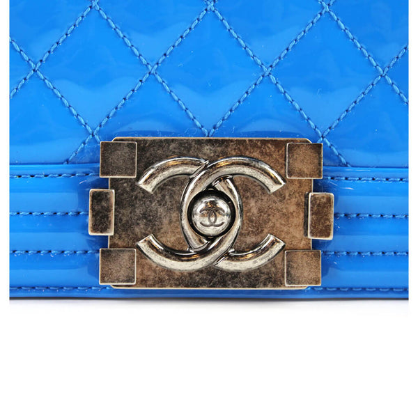 Chanel Boy Bag Electric Blue Used Hardware