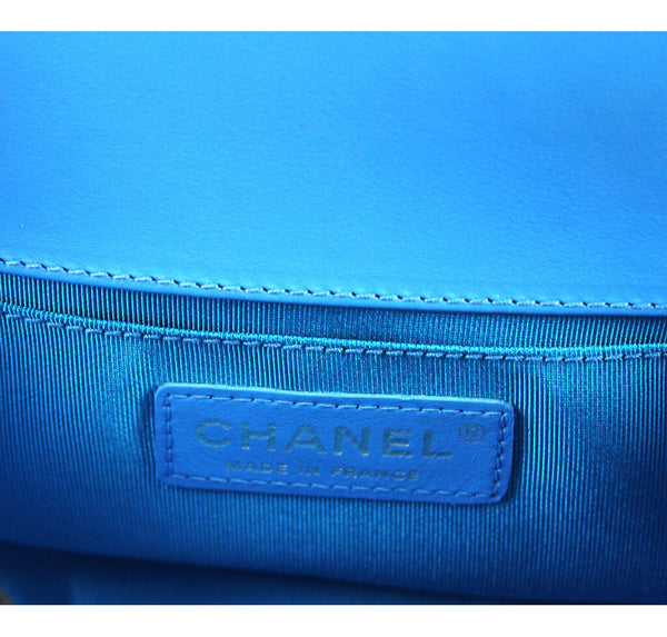 Chanel Boy Bag Electric Blue Used Embossing