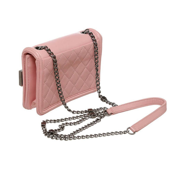 Chanel Brick Boy Bag Crossbody Pink Used Back