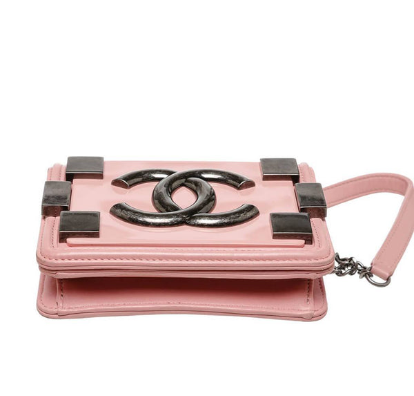 Chanel Brick Boy Bag Crossbody Pink Used Bottom