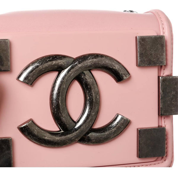 Chanel Brick Boy Bag Crossbody Pink Used Detail