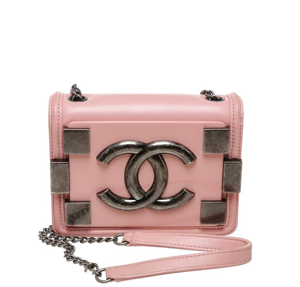 a6d280bf3eff Chanel Brick Boy Bag Crossbody Pink - Lambskin Leather
