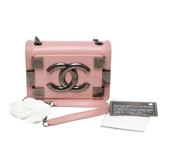 Chanel Brick Boy Bag Crossbody Pink Used Overview